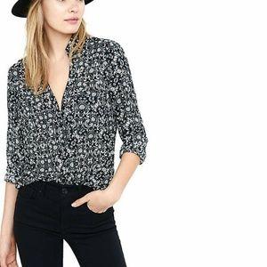Express Black White Portofino Shirt Slim Fit Sm